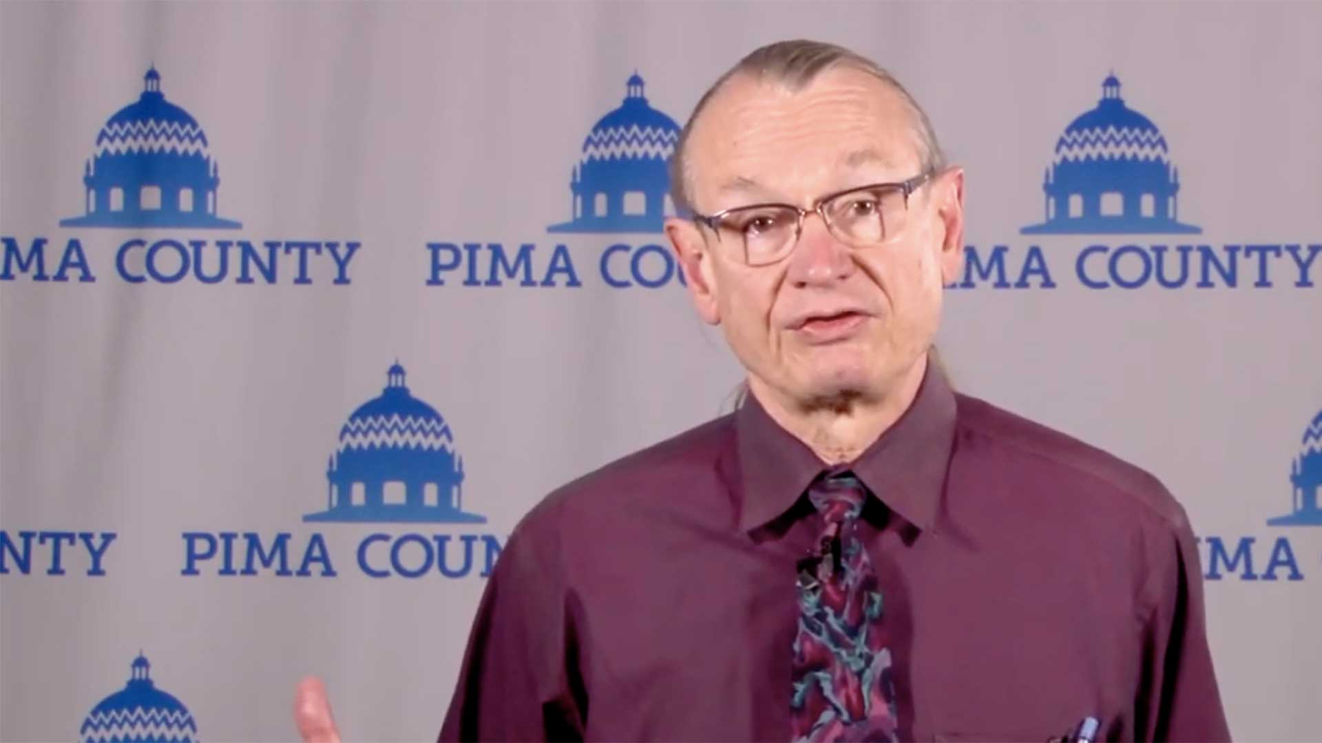 Still image from a video of Pima County Public Health Director Bob England in a March 20 briefing.