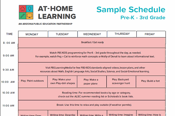 At Home Learning Sample Schedule