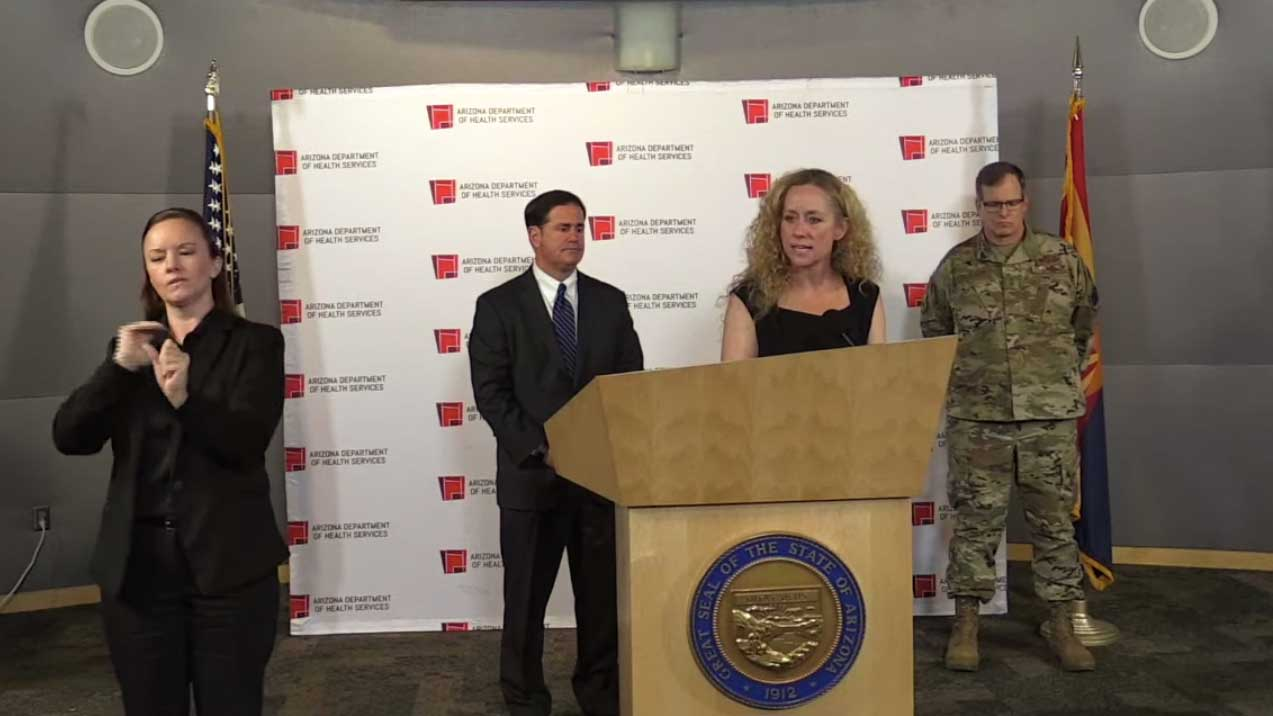 Arizona Department of Health Services Director Cara Christ gives COVID-19 updates with Gov. Doug Ducey, in this still image from a March 25 video.