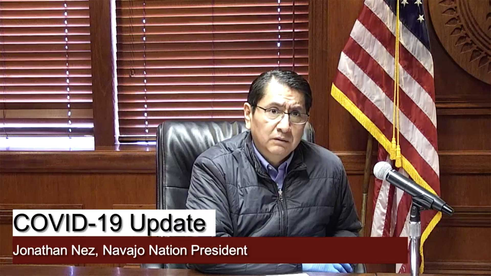 Navajo Nation President Jonathan Nez during the announcement of the curfew March 29, 2020, in this still image from a Facebook Live video.