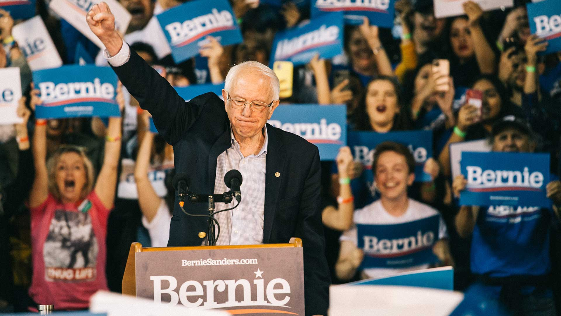 Sen. Bernie Sanders took several swipes at his rival for the Democratic nomination for president, former Vice President Joe Biden, noting that Biden supported the Iraq War and the North American Free Trade Agreement.