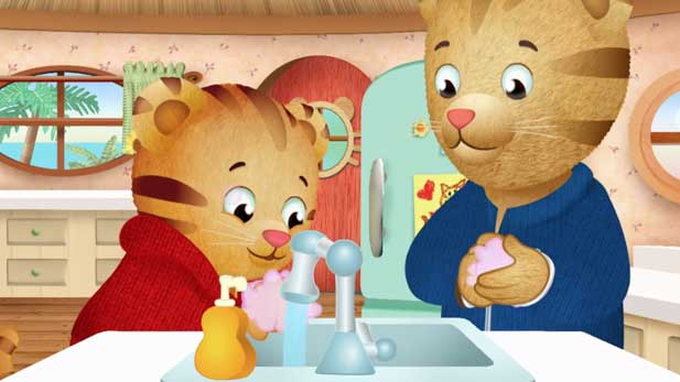 Good hand washers, like Daniel Tiger, are germ busters!
