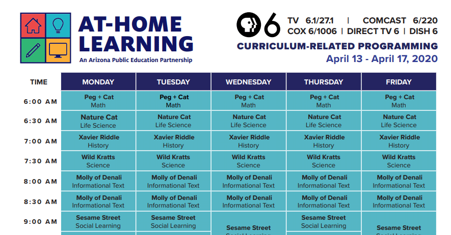 PBS 6 At Home Learning Schedule