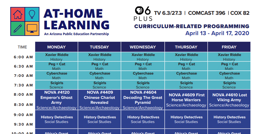 PBS 6 Plus At Home Learning Schedule