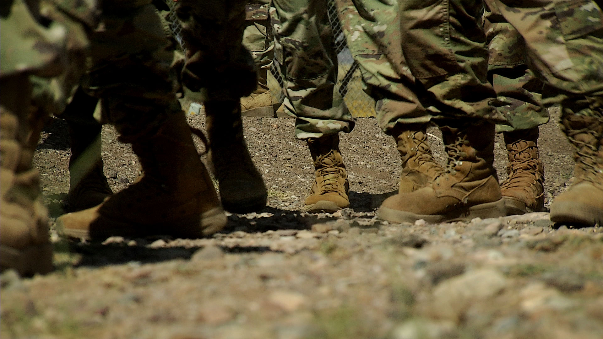 A look at soldiers' boots as they make their way between sessions during training at Fort Huachuca, October 2019.