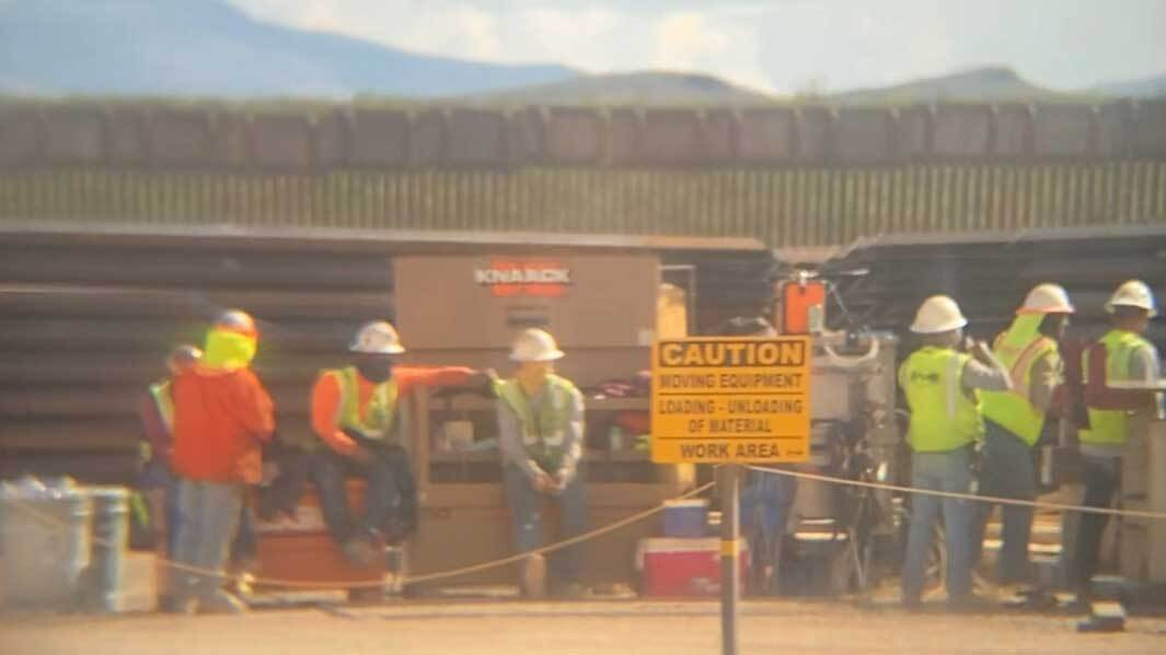 An image provided by the Center for Biological Diversity shows a group of construction workers at a site in the San Bernadino National Wildlife Refuge on April 8.