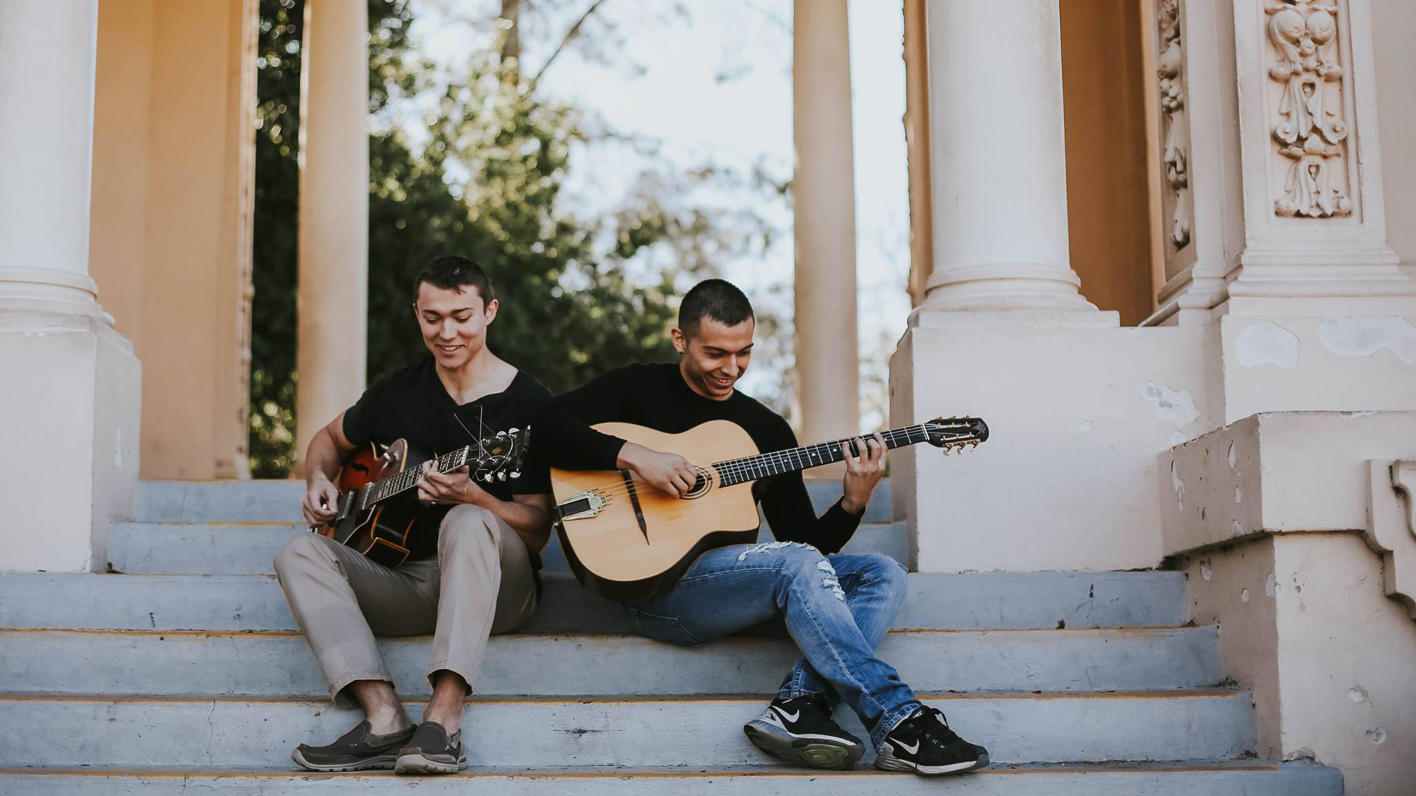 Alex Ciavarelli and Rudy Marquez are the acoustic swing duo The Django Shredders.