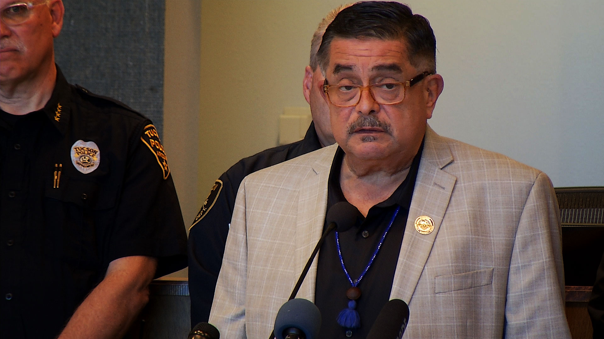 Pima County Board of Supervisors Chairman Richard Elías speaks during a press conference with county and city of Tucson leaders about COVID-19 precautions on March 9, 2020.