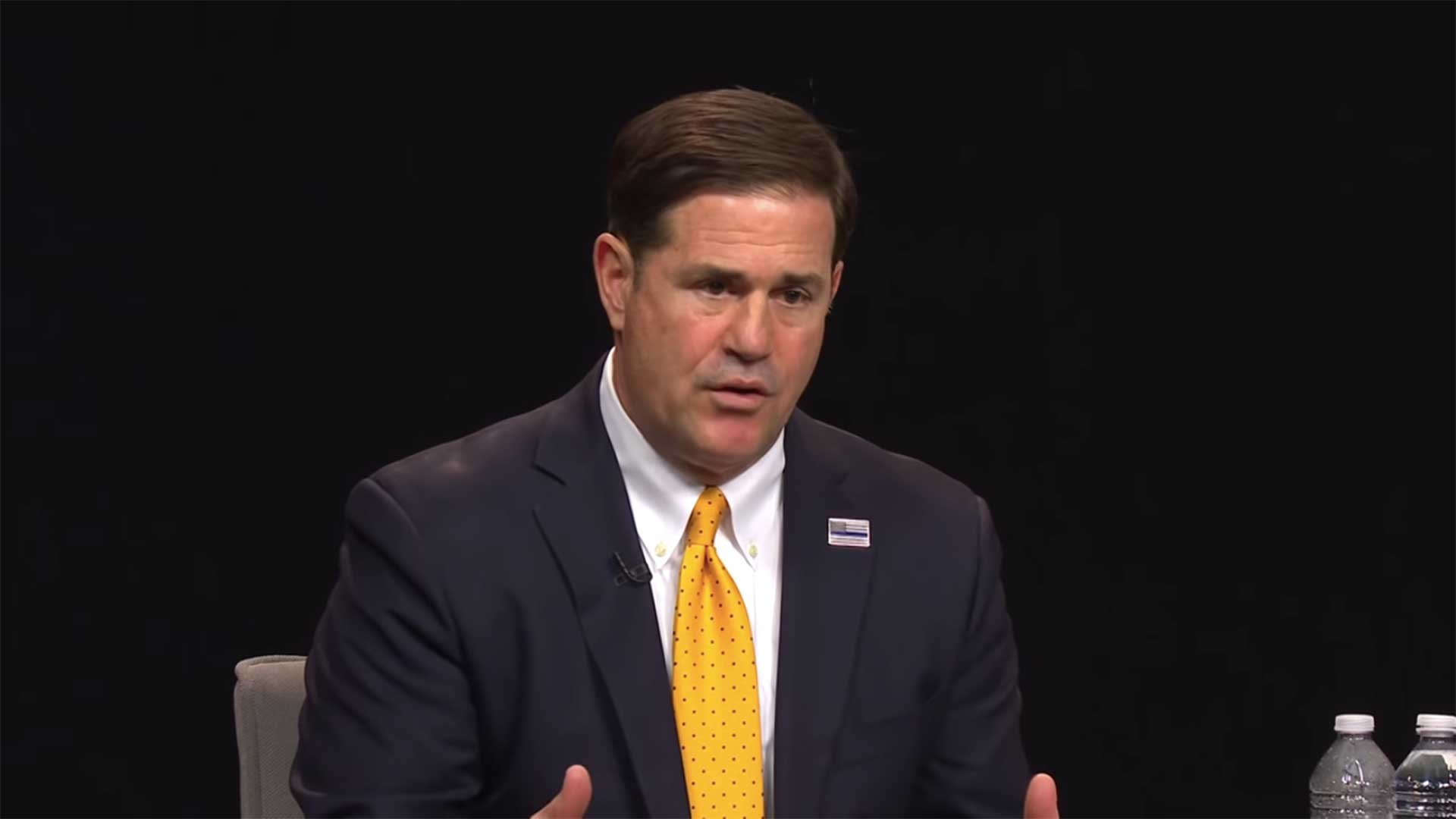 Arizona Gov. Doug Ducey at an April 2 town hall on the COVID-19 pandemic.