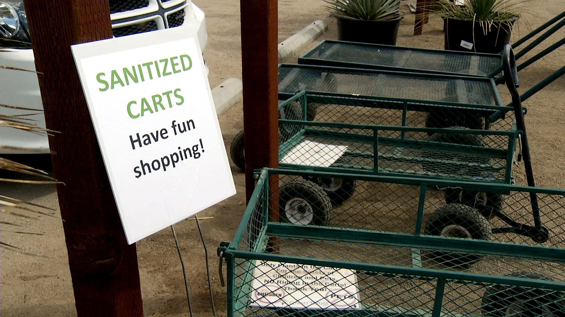 A designated area for sanitized carts at Green Things, a nursery in Tucson, on April 7, 2020.