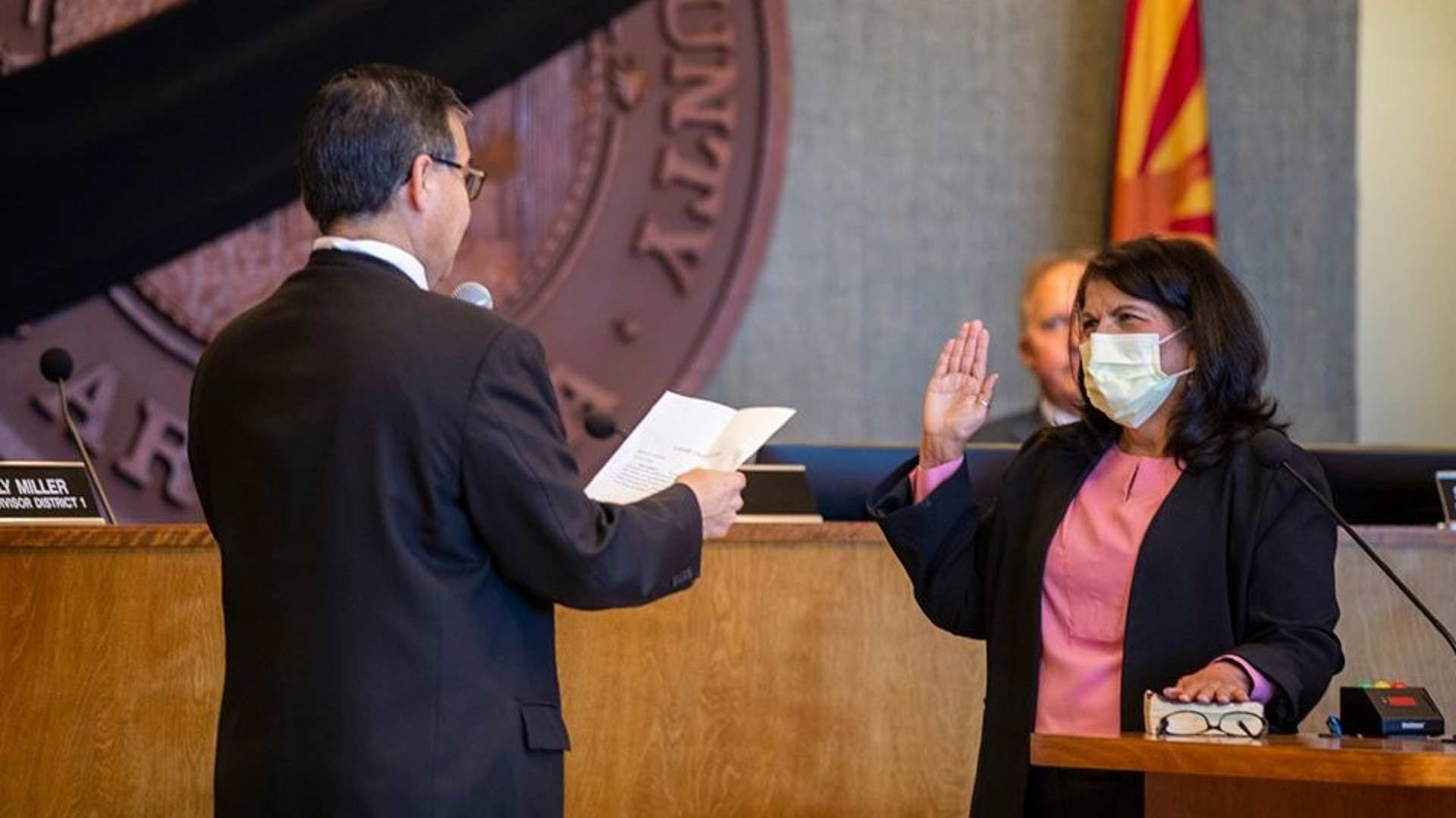 Pima County Supervisor Betty Villegas is sworn into office by Supervisors Chairman Ramon Valadez at the April 9, 2020 board meeting.   Villegas was appointed to fill the District 5 seat vacated by the death of Supervisor Richard Elías.
