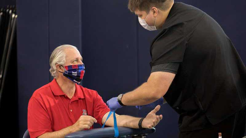 UA President Robert Robbins receives an antibody test in this photo accompanying an April 30 UANews release.