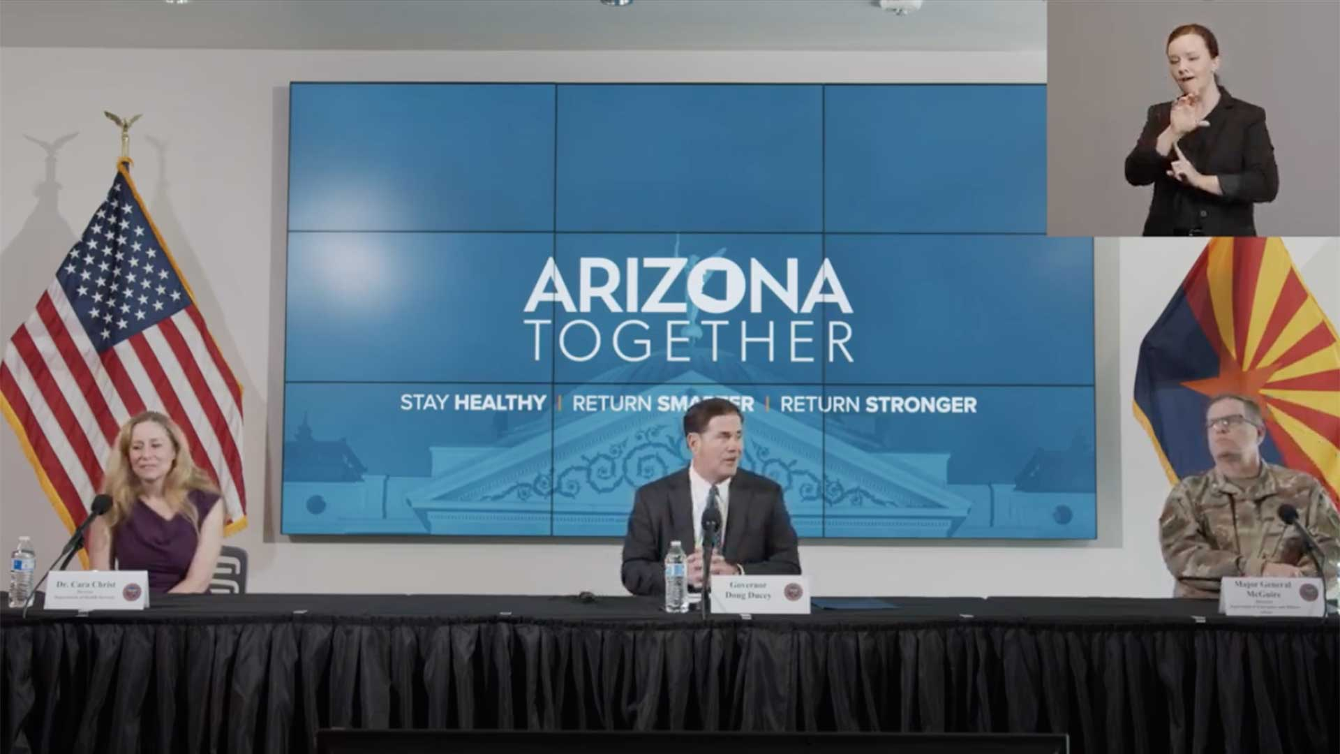 Gov. Doug Ducey delivers an update on the state's COVID-19 response, May 20.