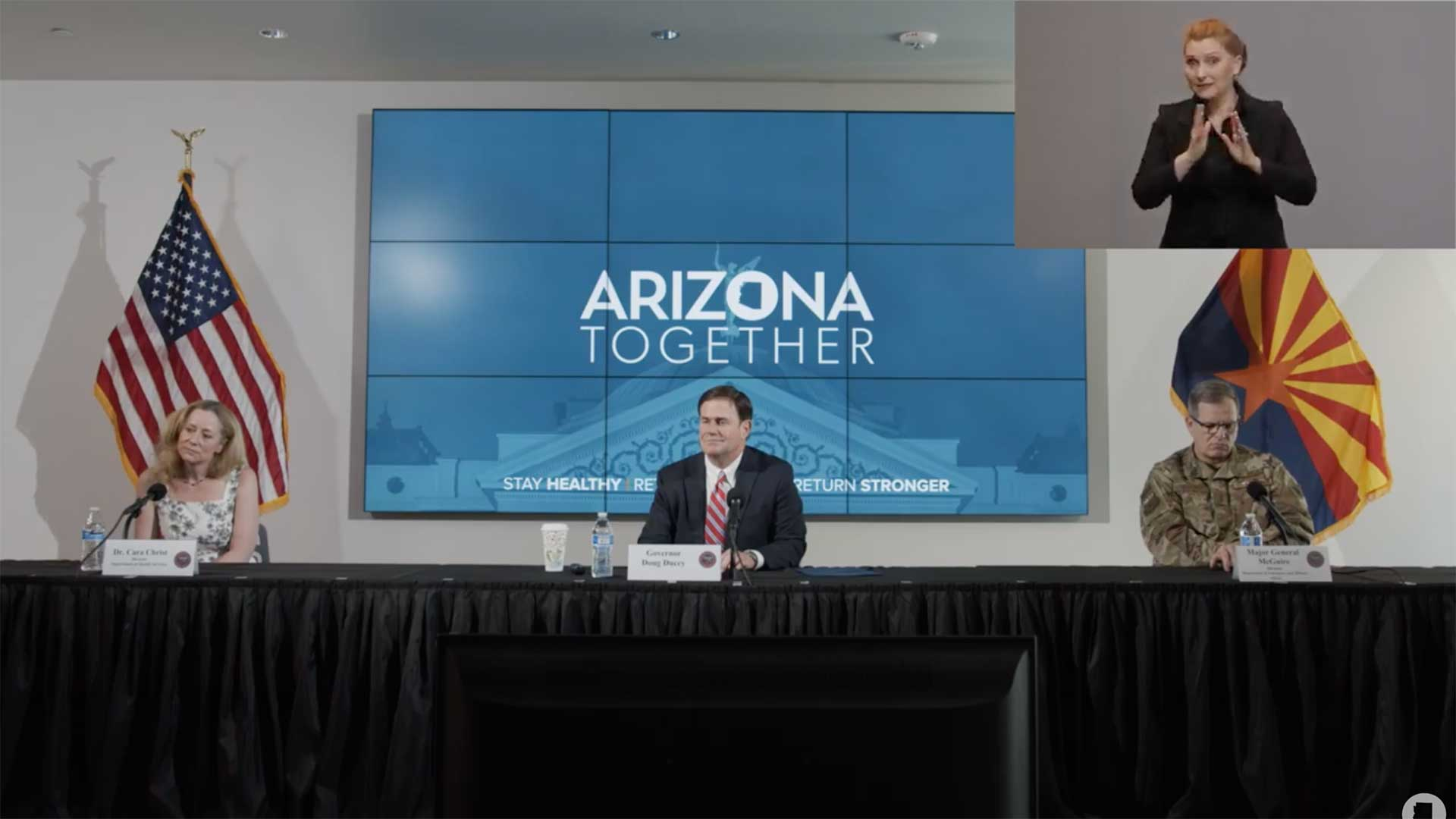 Arizona Health Director Cara Christ, Gov. Doug Ducey and Director of the Department of Emergency and Military Affairs Maj. Gen. Michael McGuire at a May 28 update on the state's response to the COVID-19 pandemic.