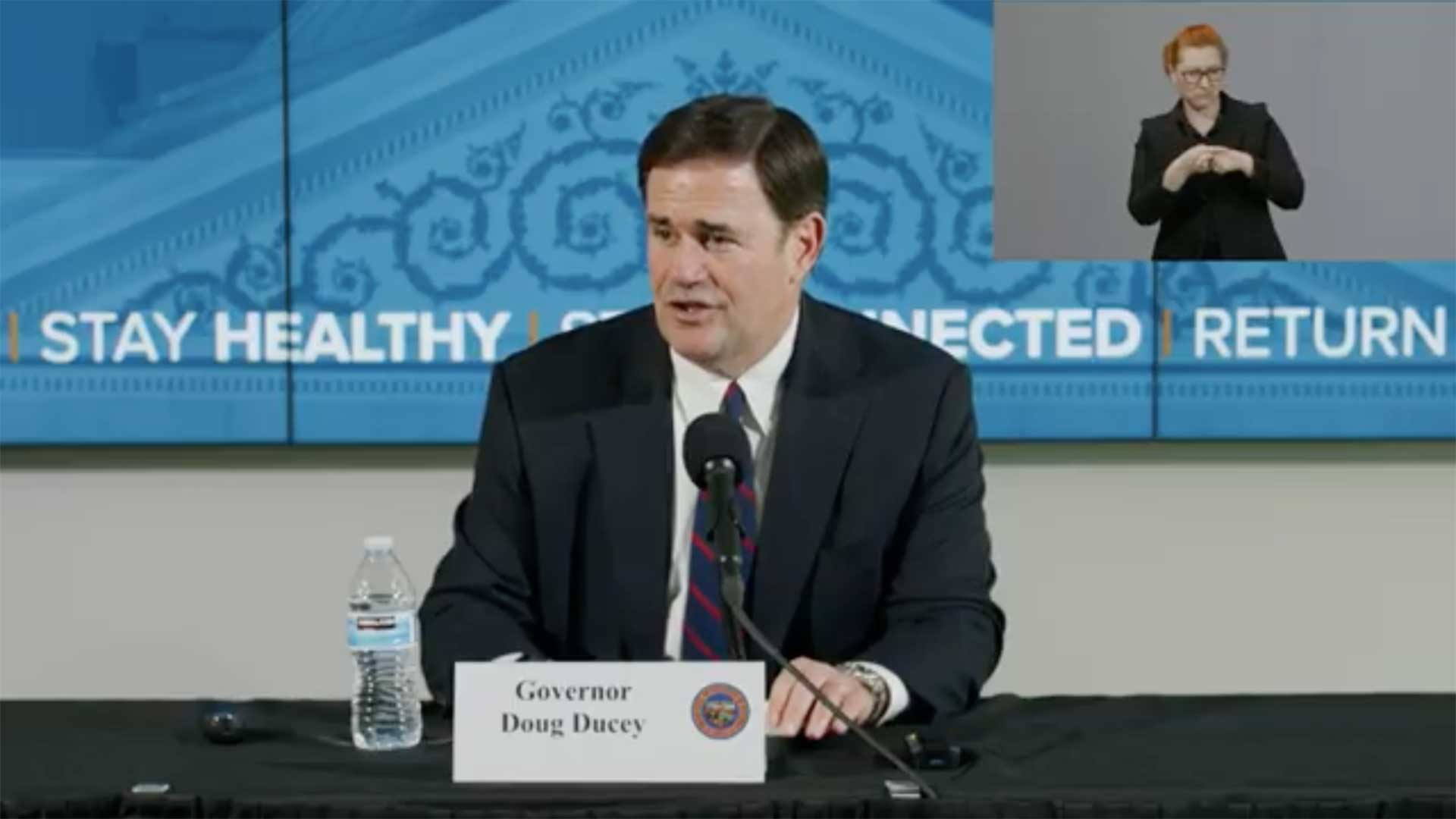 Arizona Gov. Doug Ducey on May 4 announces a plan to open up certain businesses in the state in an effort to restart the economy following coronavirus restrictions on businesses.