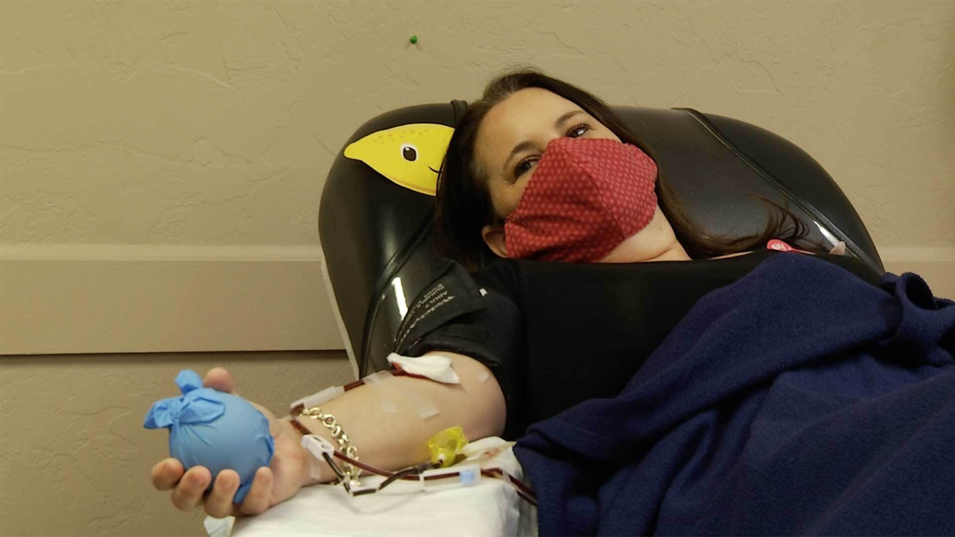 Blood donor Paula Sommers survived a week-long bout with COVID-19 last month.