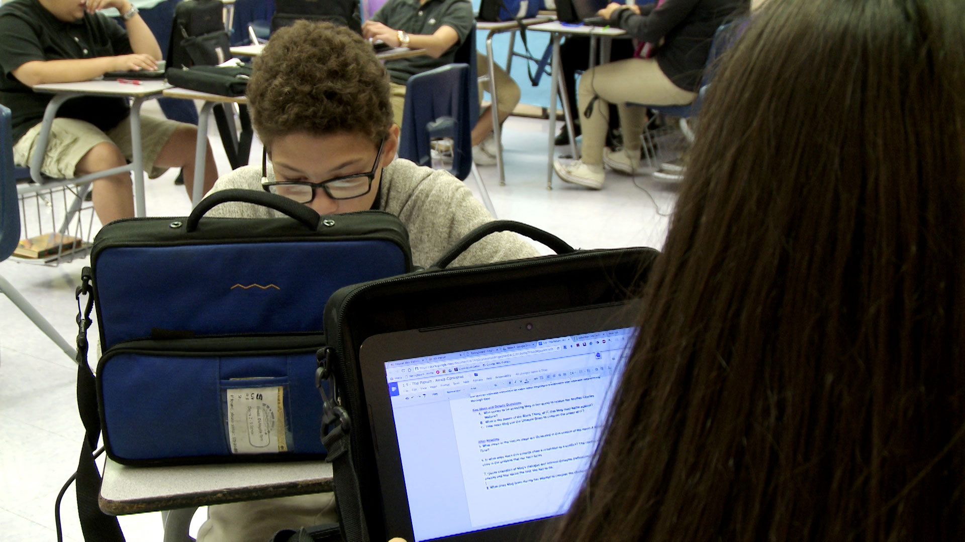File image of students using school-provided laptops in the Sunnyside Unified School District.