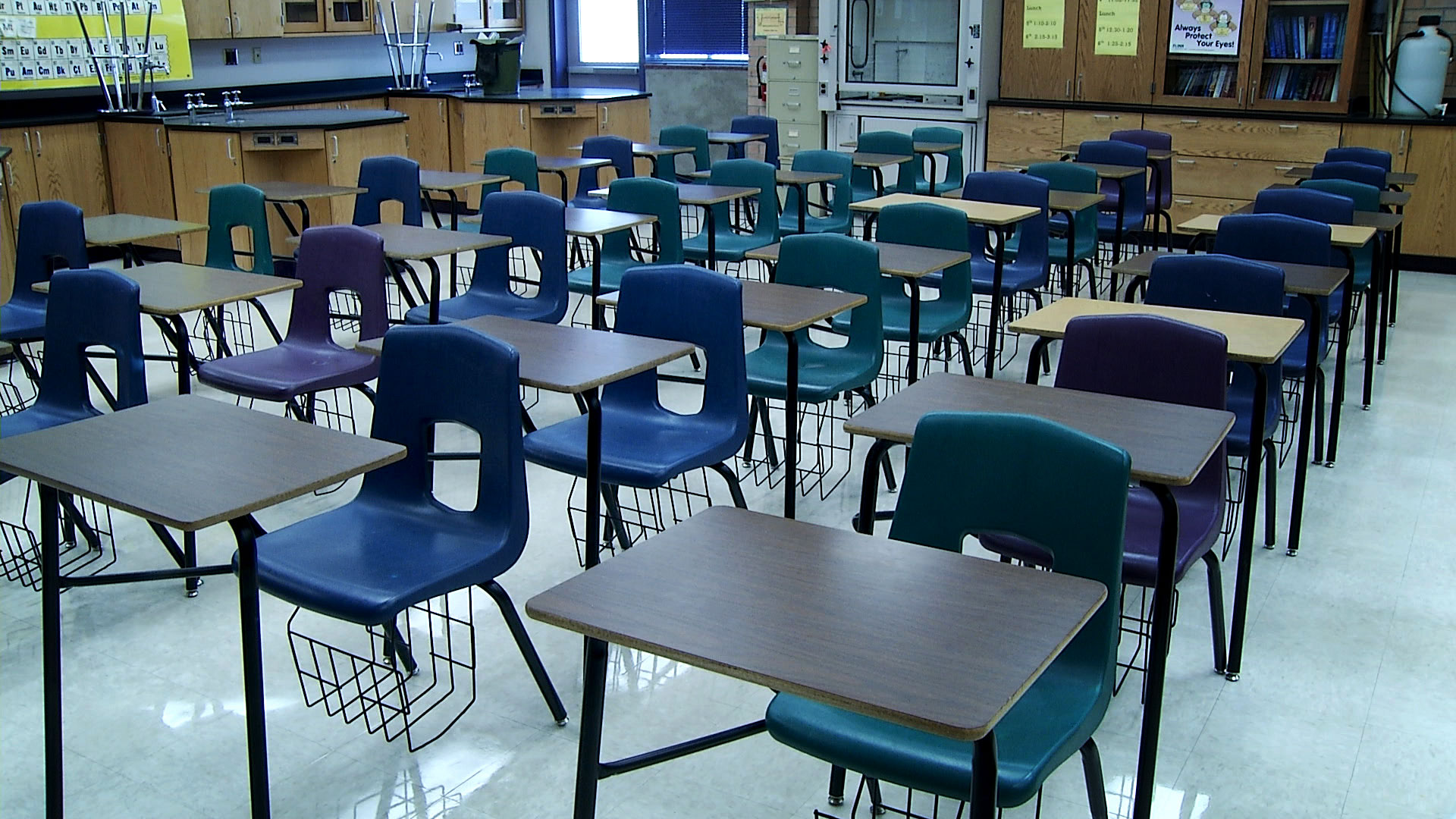 File image of an empty classroom at Sabino High School in Tucson.