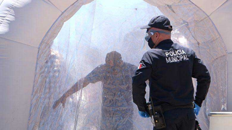 "The Nogales, Sonora, city government installed a ""sanitation tunnel"" at the Mariposa Port Of Entry on May 6, 2020, and plans to install four other tunnels in an effort to prevent the spread of the coronavirus."