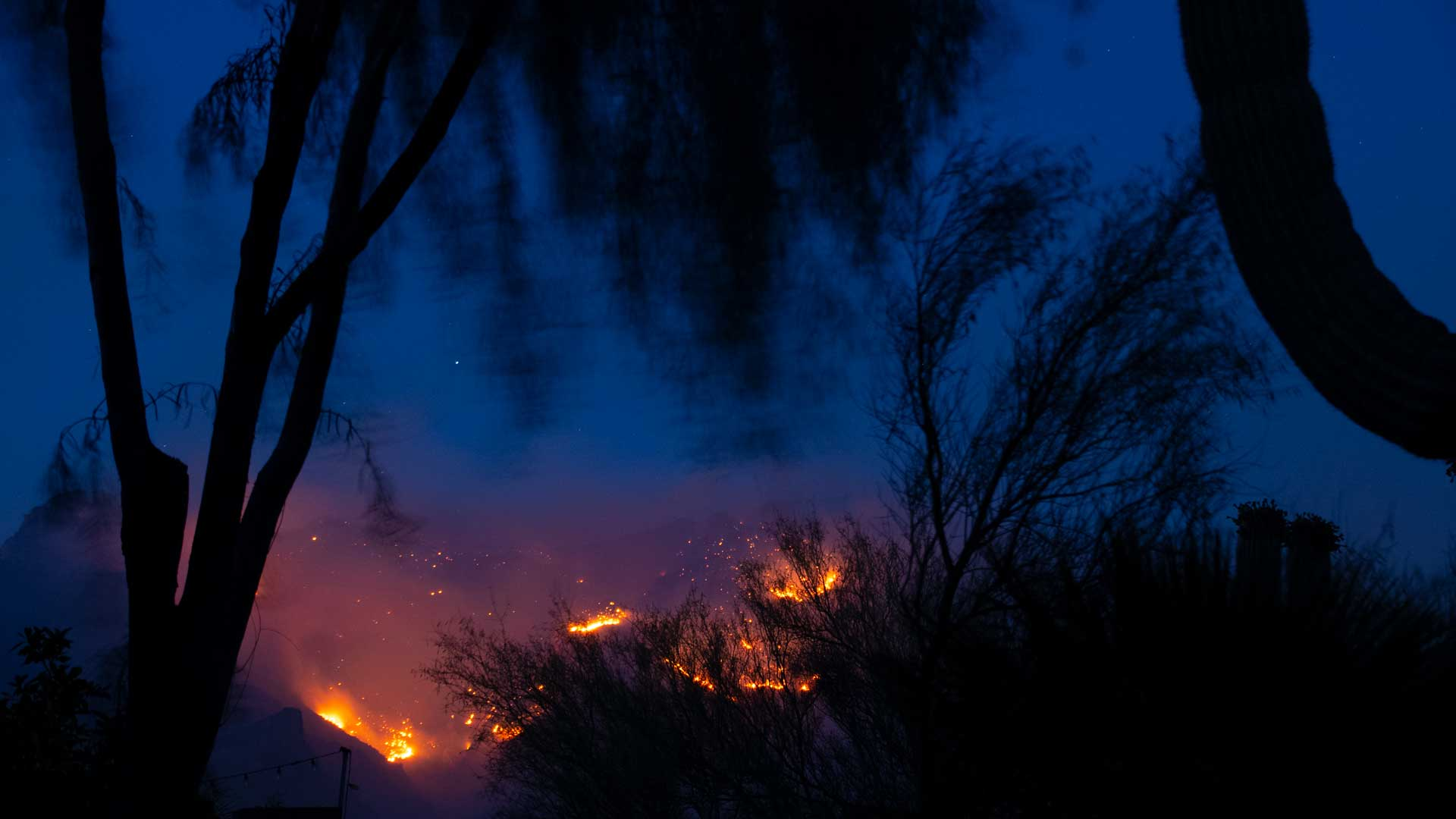 The Bighorn Fire burns in Pima Canyon on the night of June 10, 2020.  Residents in the area were warned to be ready for an evacuation.