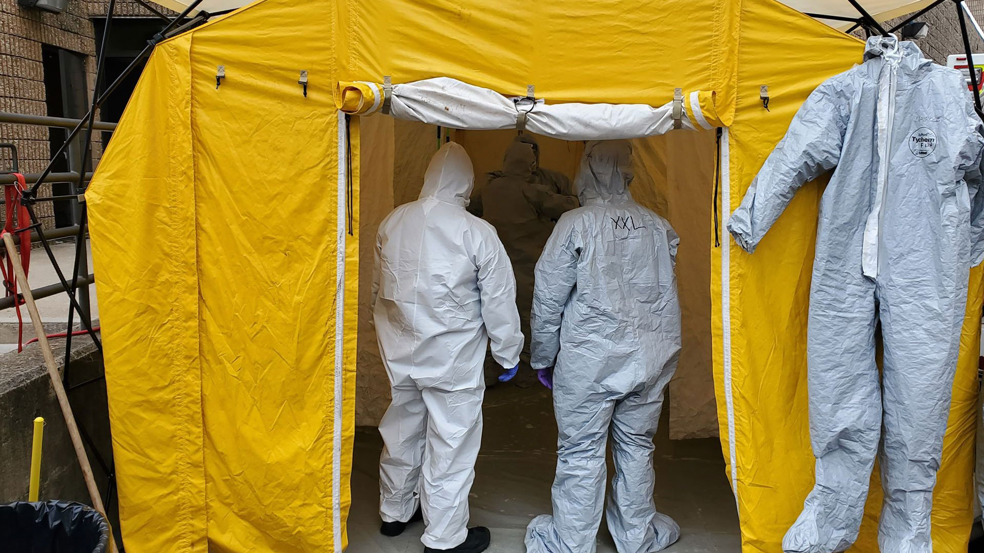 First responders inside of a decontamination tent in Elizabeth, New Jersey.