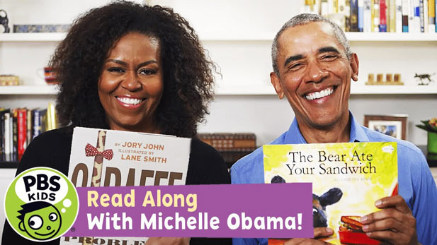 Michelle Obama and Barack Obama Read Giraffe Problems and The Bear Ate Your Sandwich.
