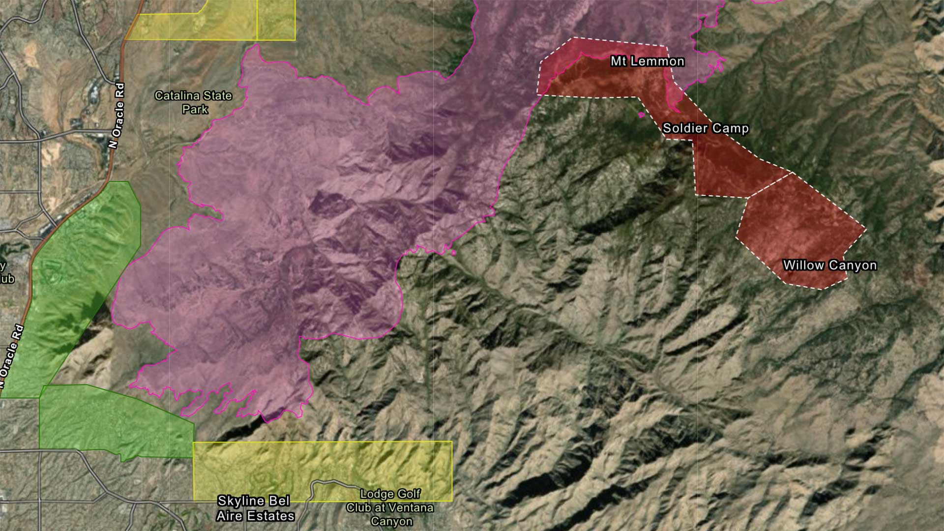 A screengrab of a Pima County interactive map of the Bighorn Fire and evacuation area as of Thursday morning, June 18.