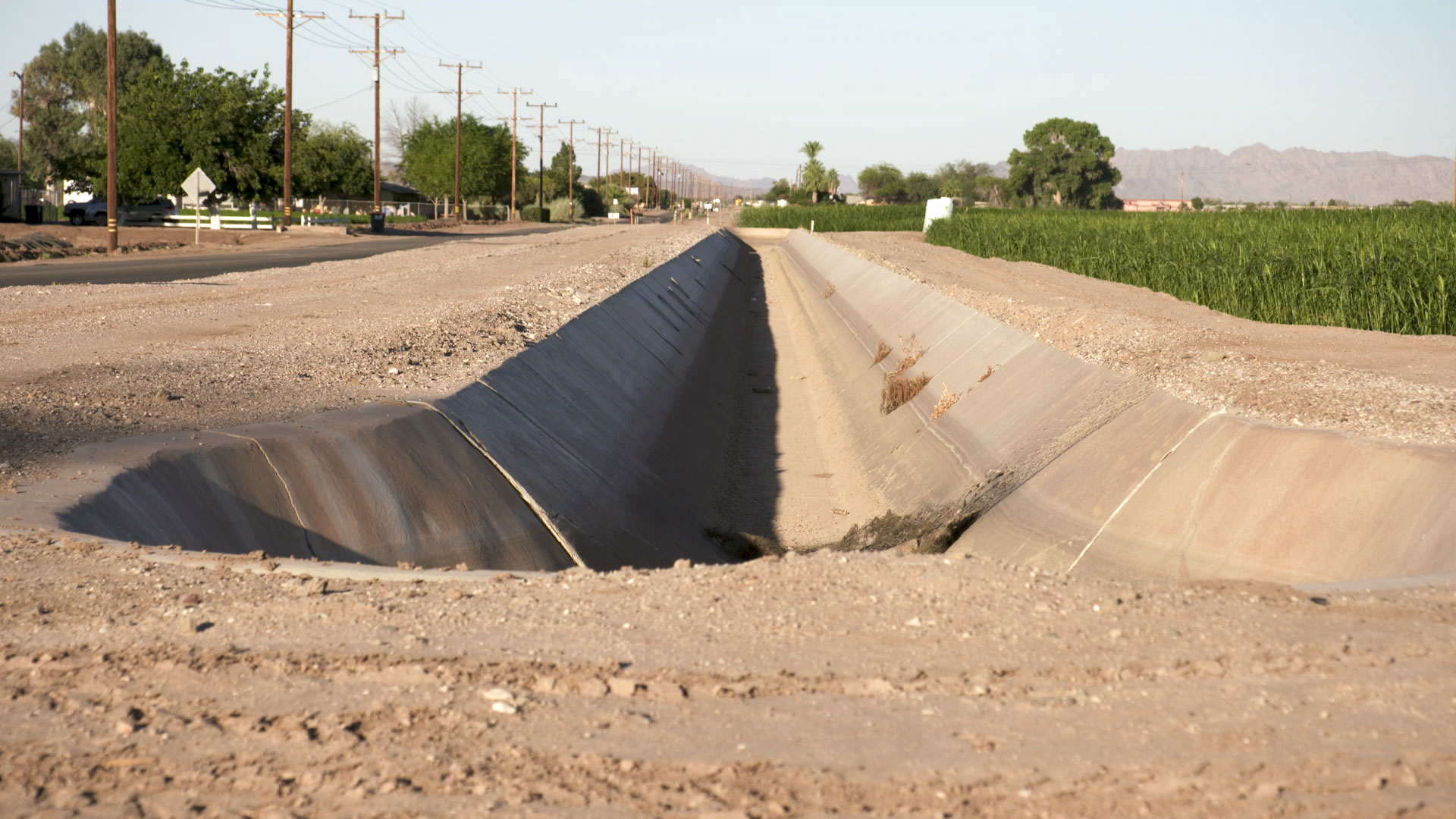 A dry irrigation canal in Yuma. June 2020.