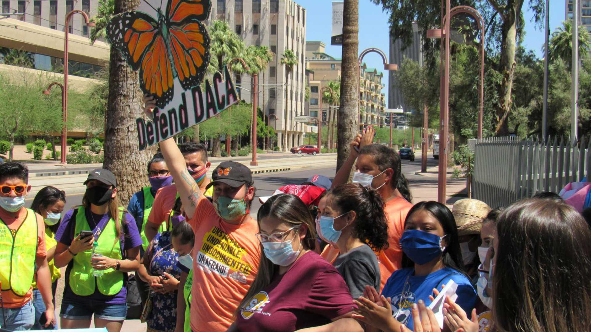DACA supporters gathered outside ICE in Phoenix on June 18, 2020, to celebrate the Supreme Court's ruling to continue the DACA program for now.