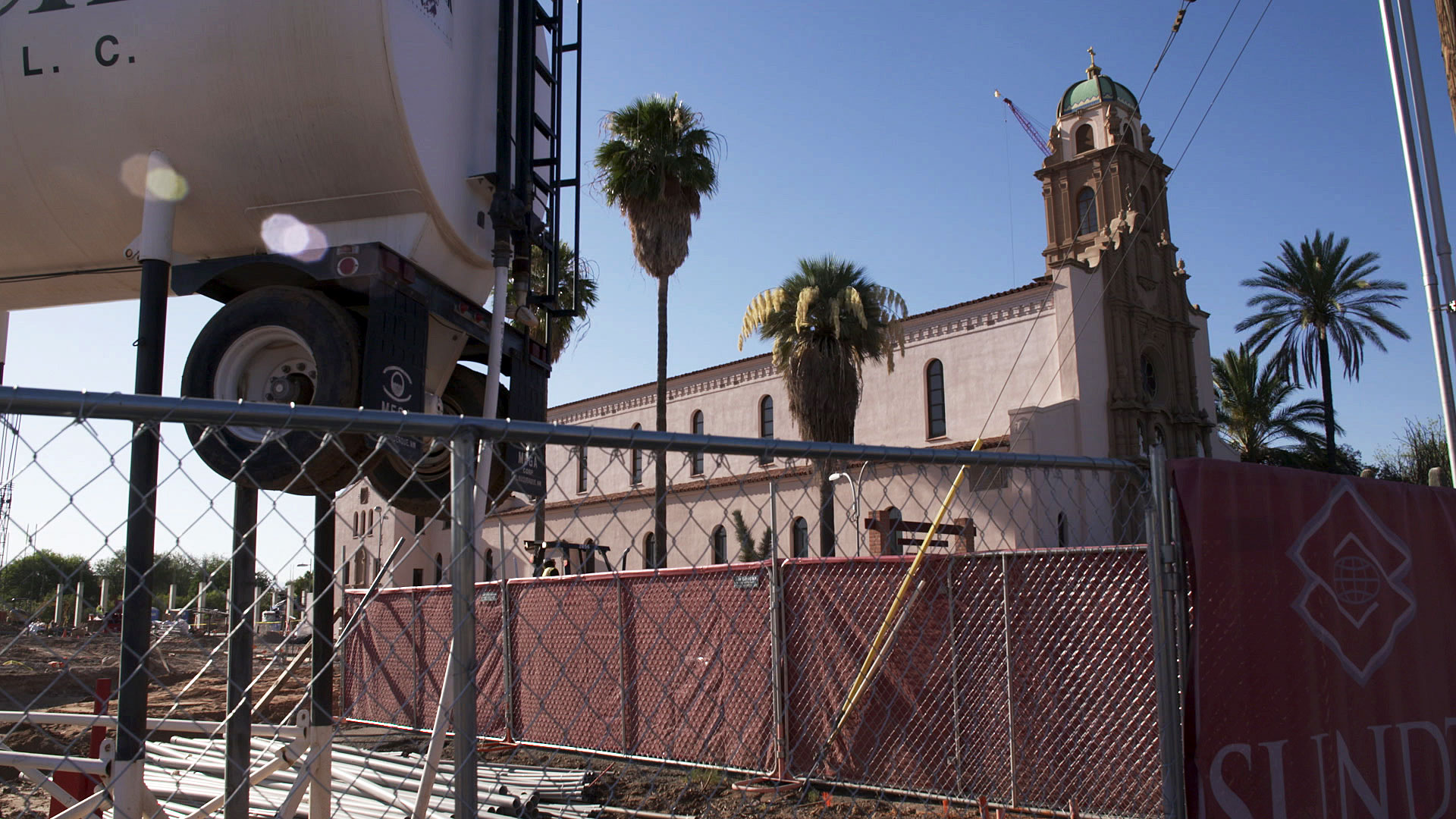 A construction site at Tucson's historic Benedictine Monastery on June 11, 2020.
