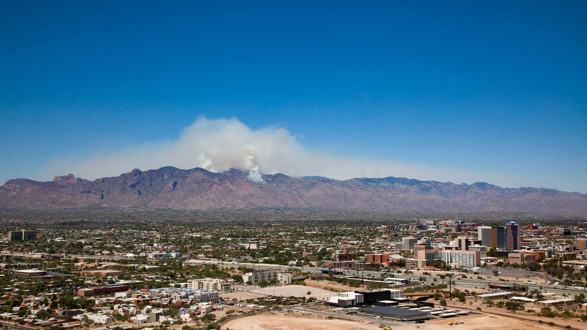 The Bighorn Fire burns in the Santa Catalina Mountains above Tucson, June 19, 2020.