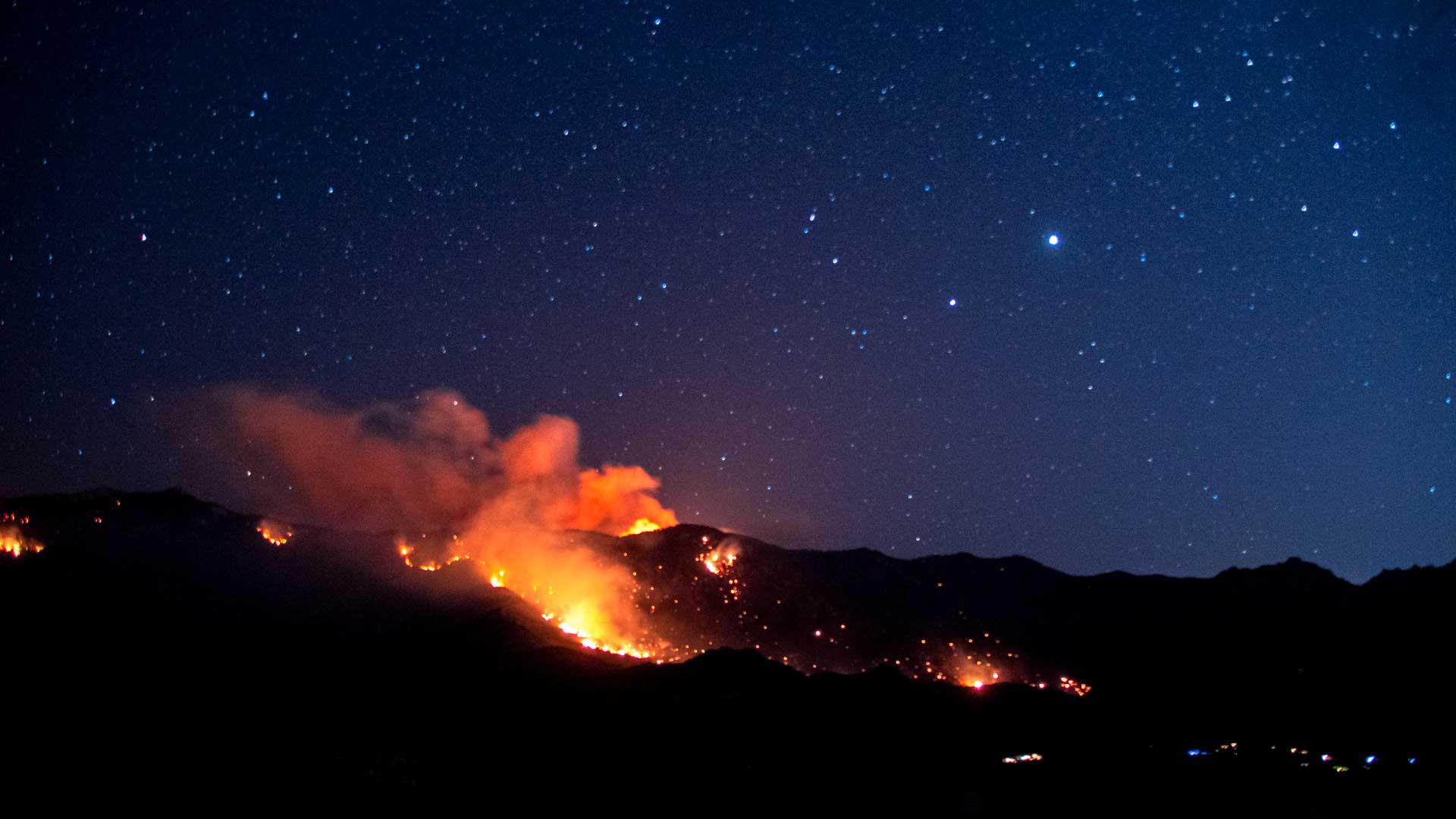 The Bighorn Fire burns near Golder Ranch on June 20, 2020