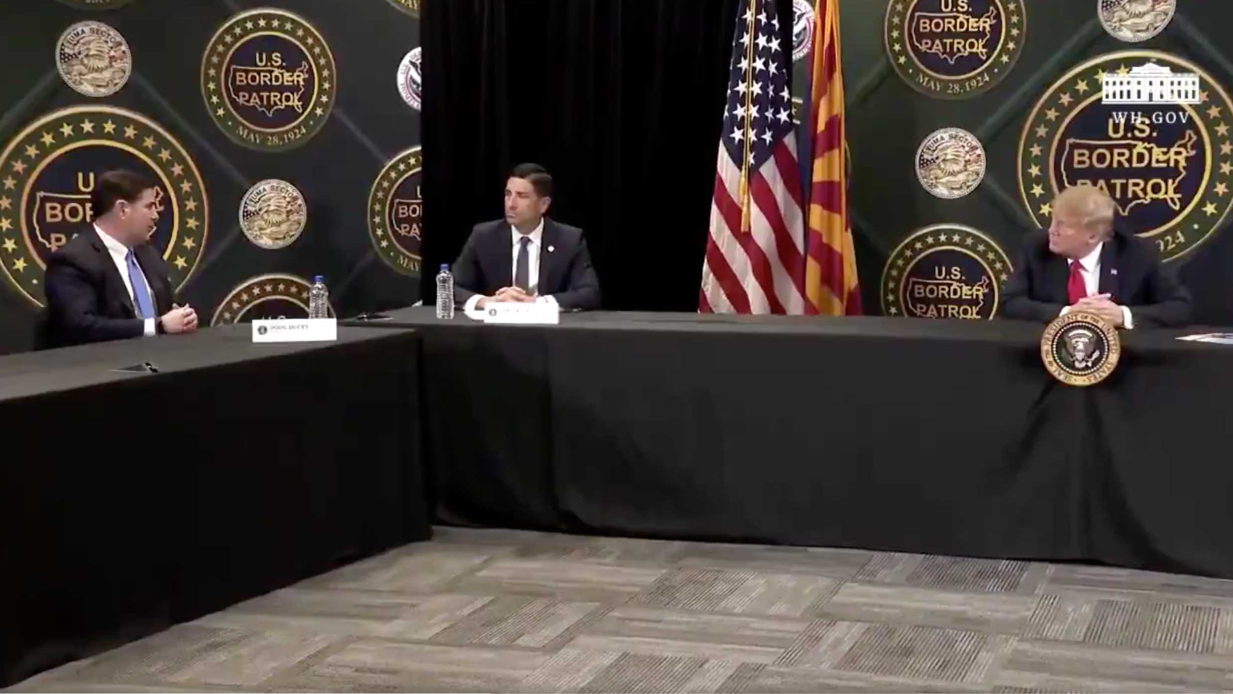 Arizona Gov. Doug Ducey speaks with President Trump on the president's visit to Arizona, June 23, 2020, in this still image from video posted on the Trump campaign social media.