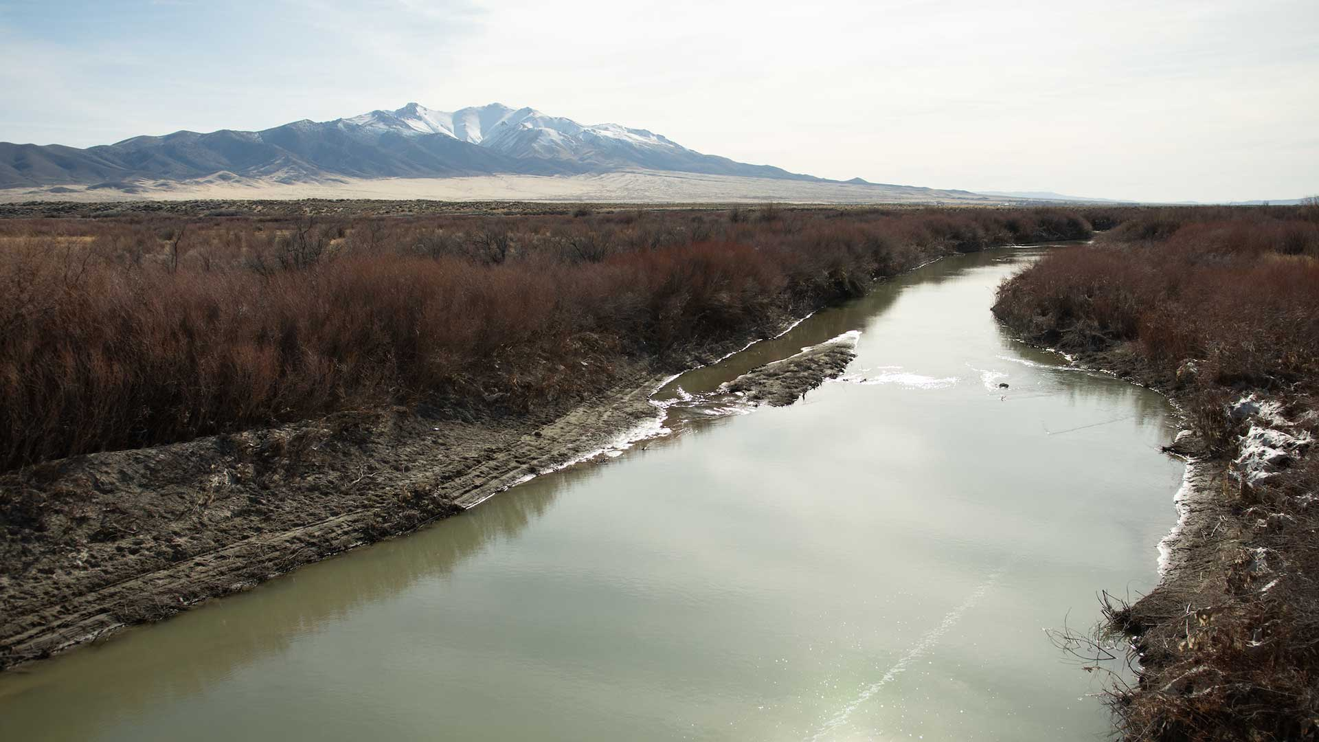 The Humboldt River between Lovelock and Winnemucca on February 25, 2020. The river provides water to towns along the I-80 corridor, mines, businesses and agricultural operations in northern Nevada.