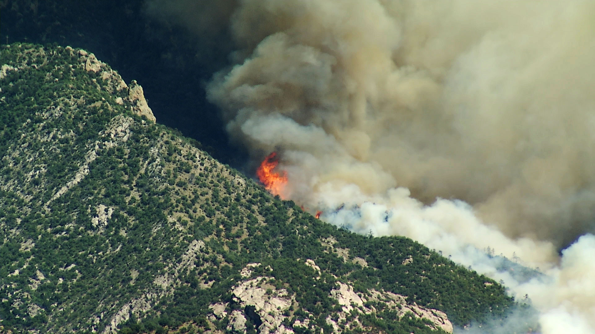 The Bighorn Fire burns in the Santa Catalina Mountains on June 16, 2020.