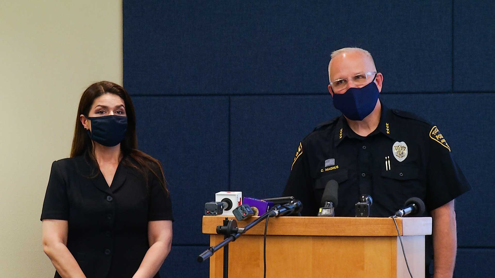 Mayor Regina Romero and Tucson Police Department Chief Chris Magnus at a June 24 press conference.