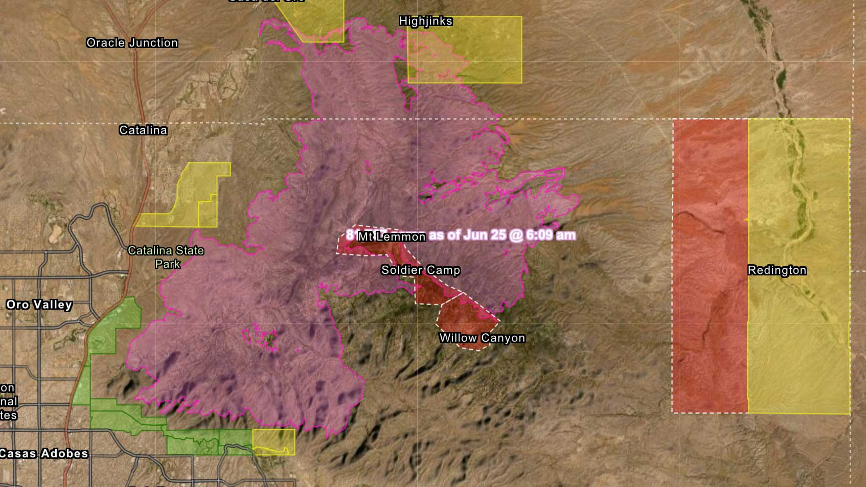 Screen shot of a Pima County map of the extent of the Bighorn Fire, June 26.