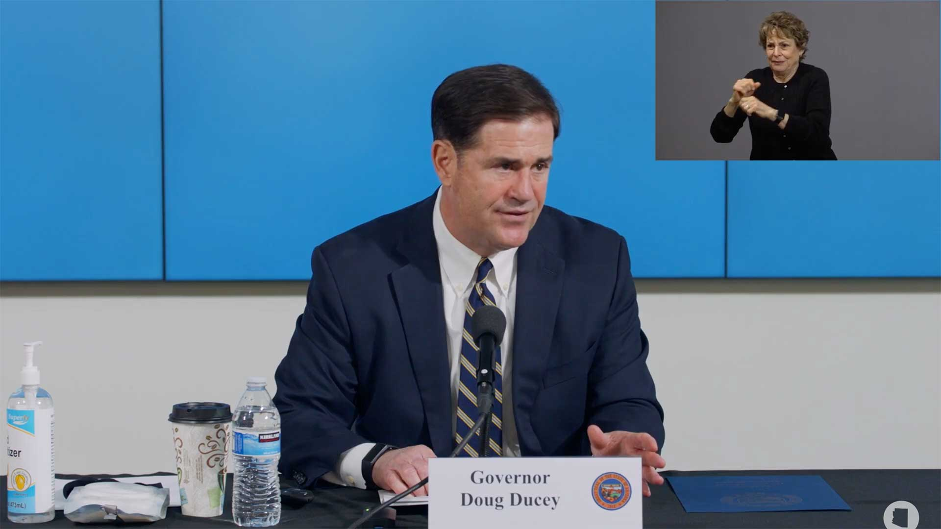 Arizona Gov. Doug Ducey delivers an address on the state's COVID-19 response, June 29.