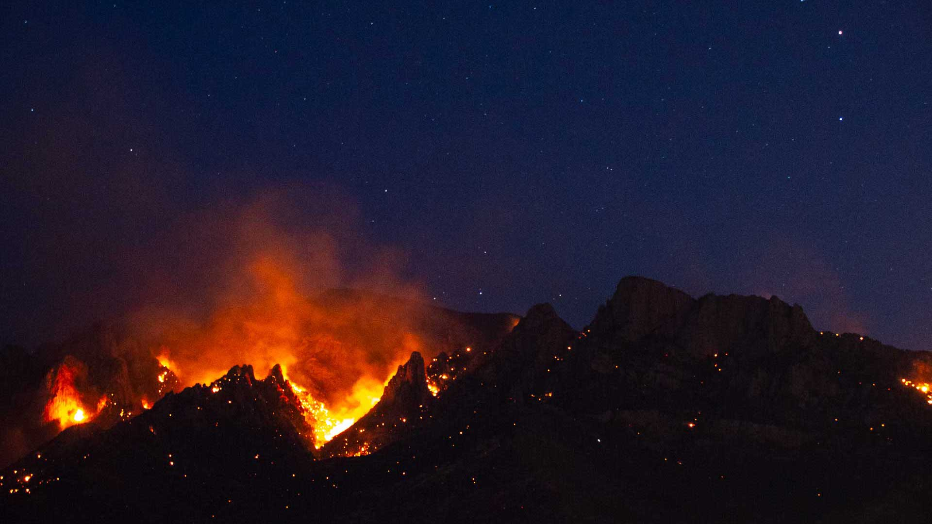 The Bighorn Fire burns on Sunday, June 7, 2020 near Oro Valley, Arizona.