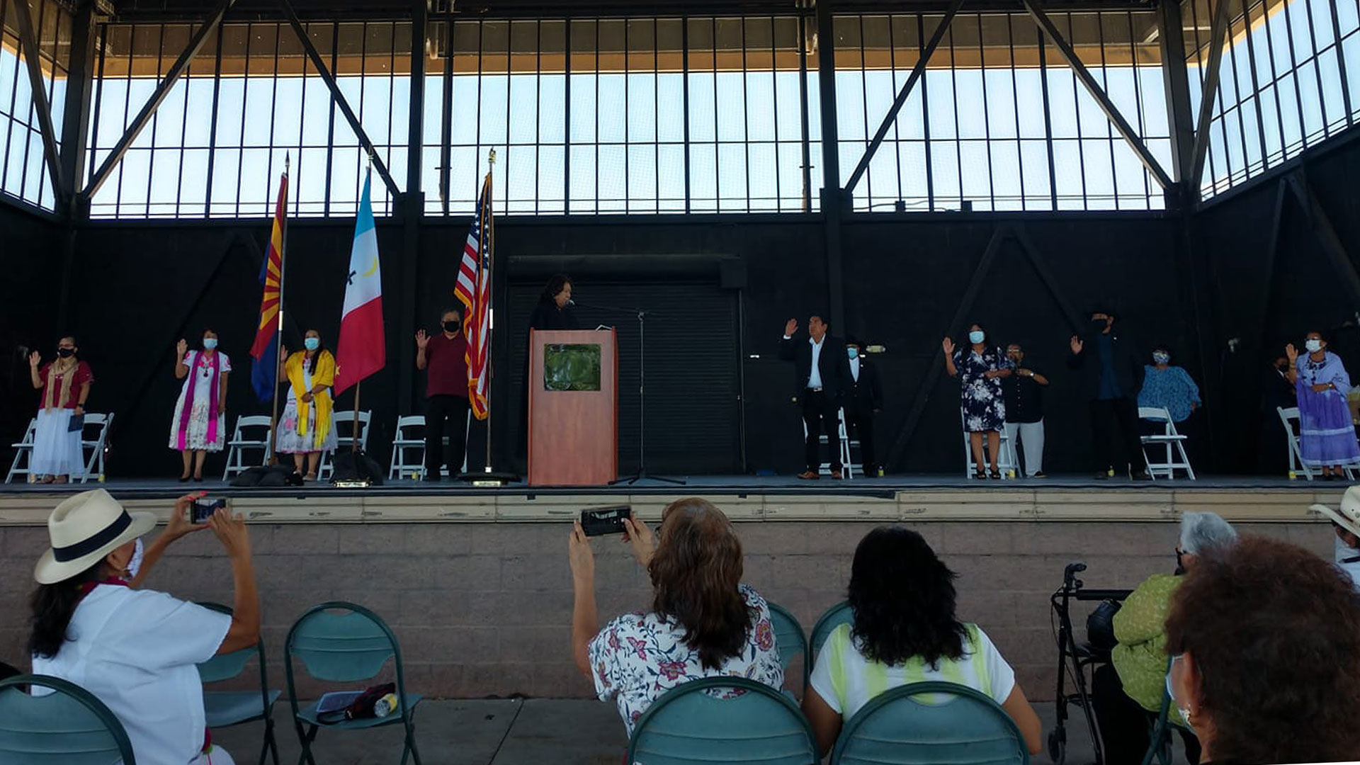 The 2020-2024 Pascua Yaqui Council being sworn in Monday, June 8, 2020. This photo was originally posted on  the tribe's Facebook page.