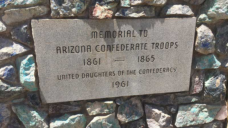The memorial to Arizona Confederate troops at Wesley Bolin Memorial Plaza near the Capitol was erected in 1961.