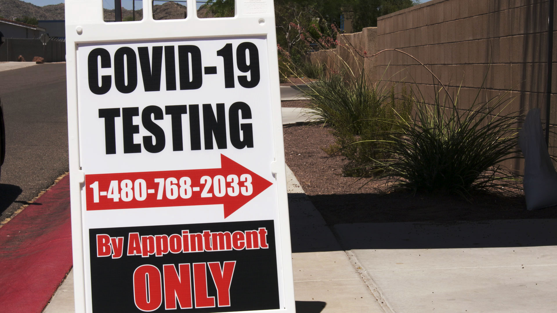 A sign advertises COVID-19 testing in the town of Guadalupe on July 7, 2020.
