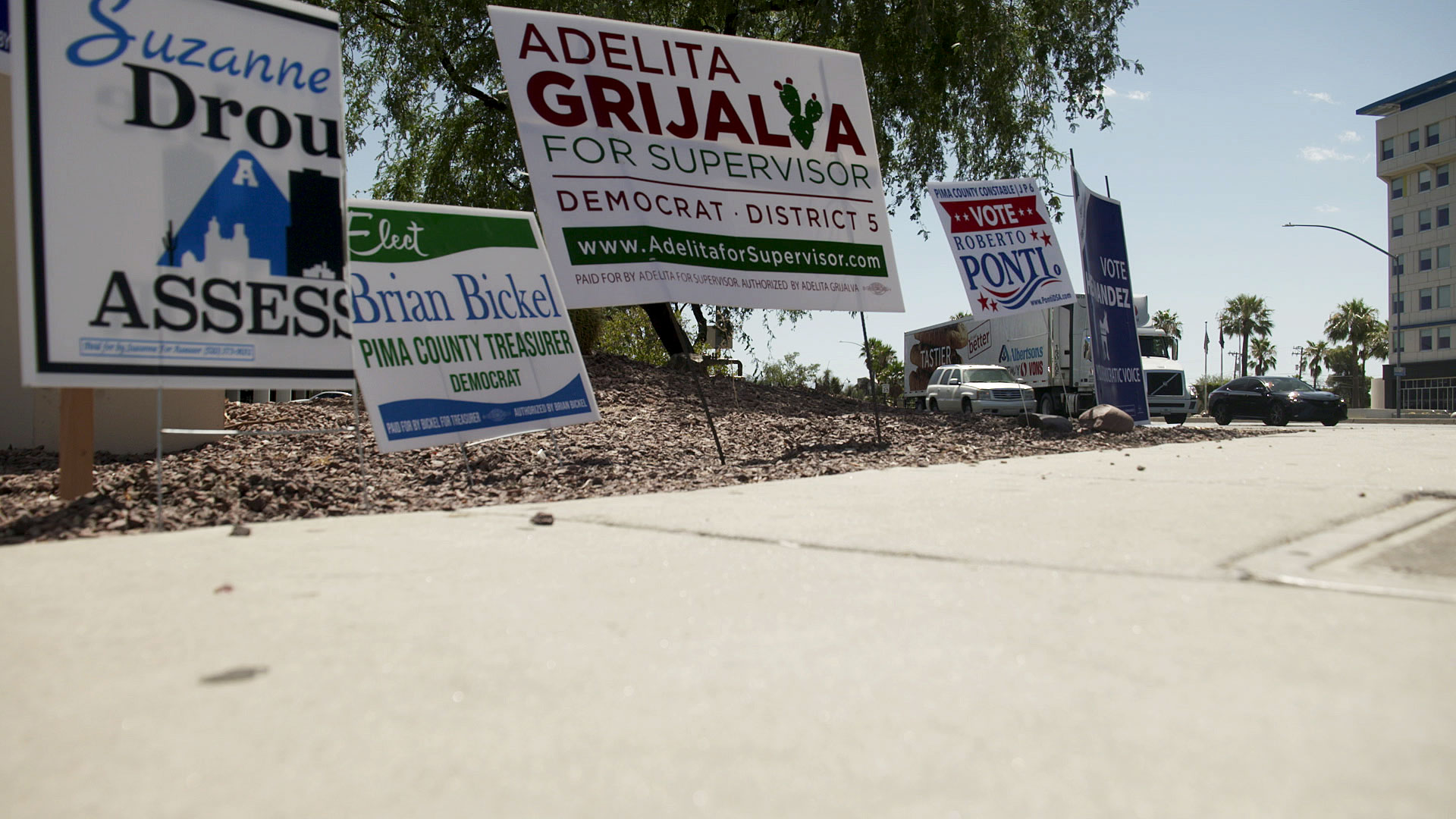 Candidate signs in Tucson posted ahead of the 2020 primary. July 2020.