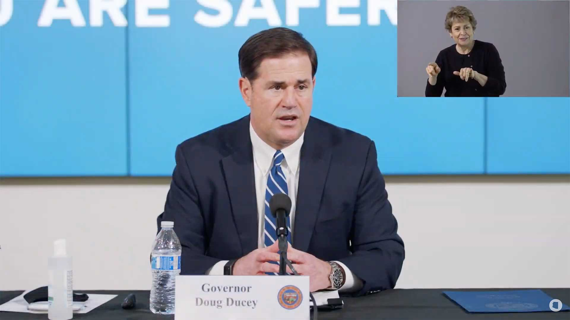 Arizona. Gov. Doug Ducey at a July 16 briefing on the state's COVID-19 response.