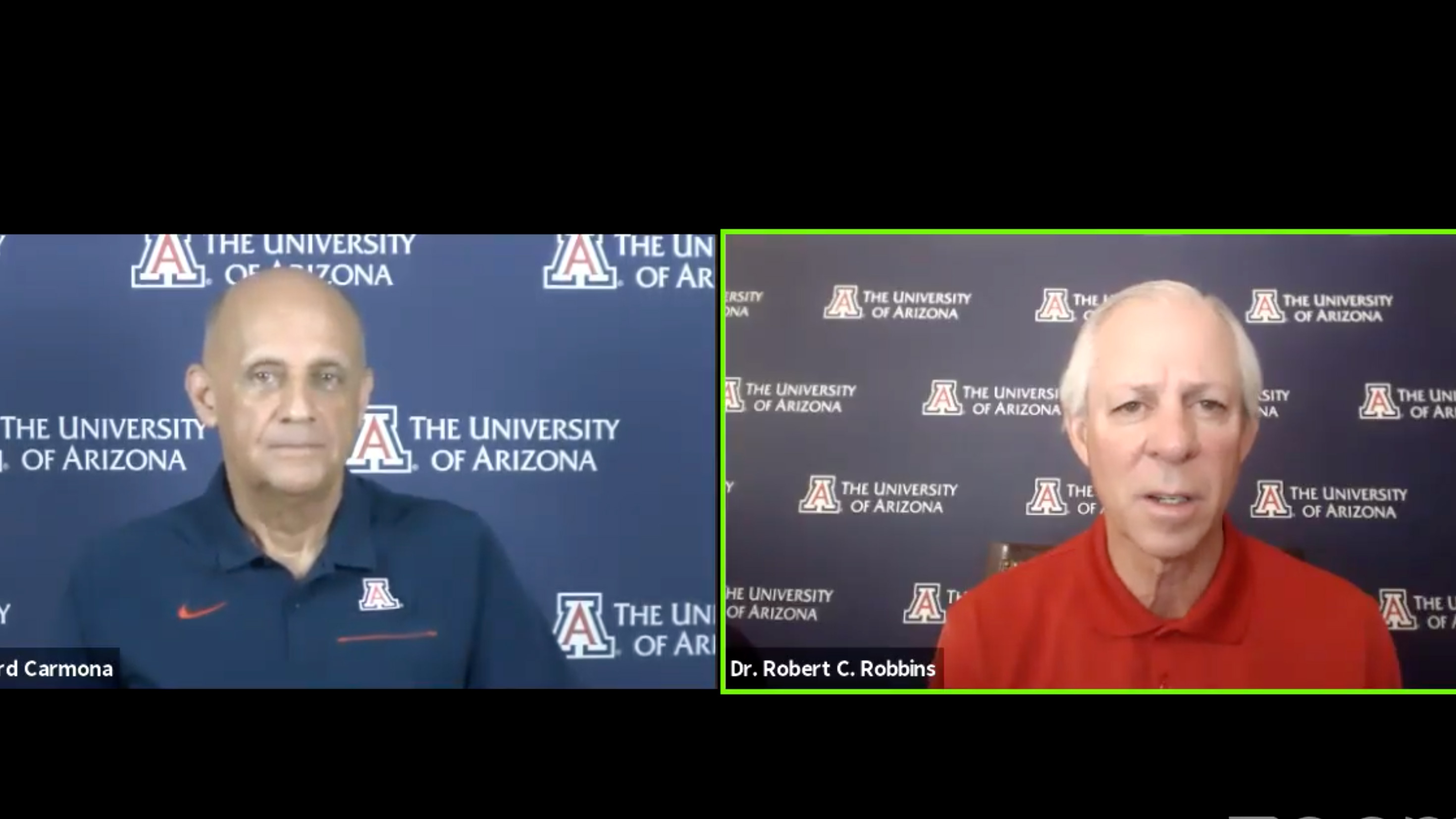 University of Arizona President Robert Robbins and Richard Carmona hold an online briefing about restarting classes on campus.  July 16,2020.