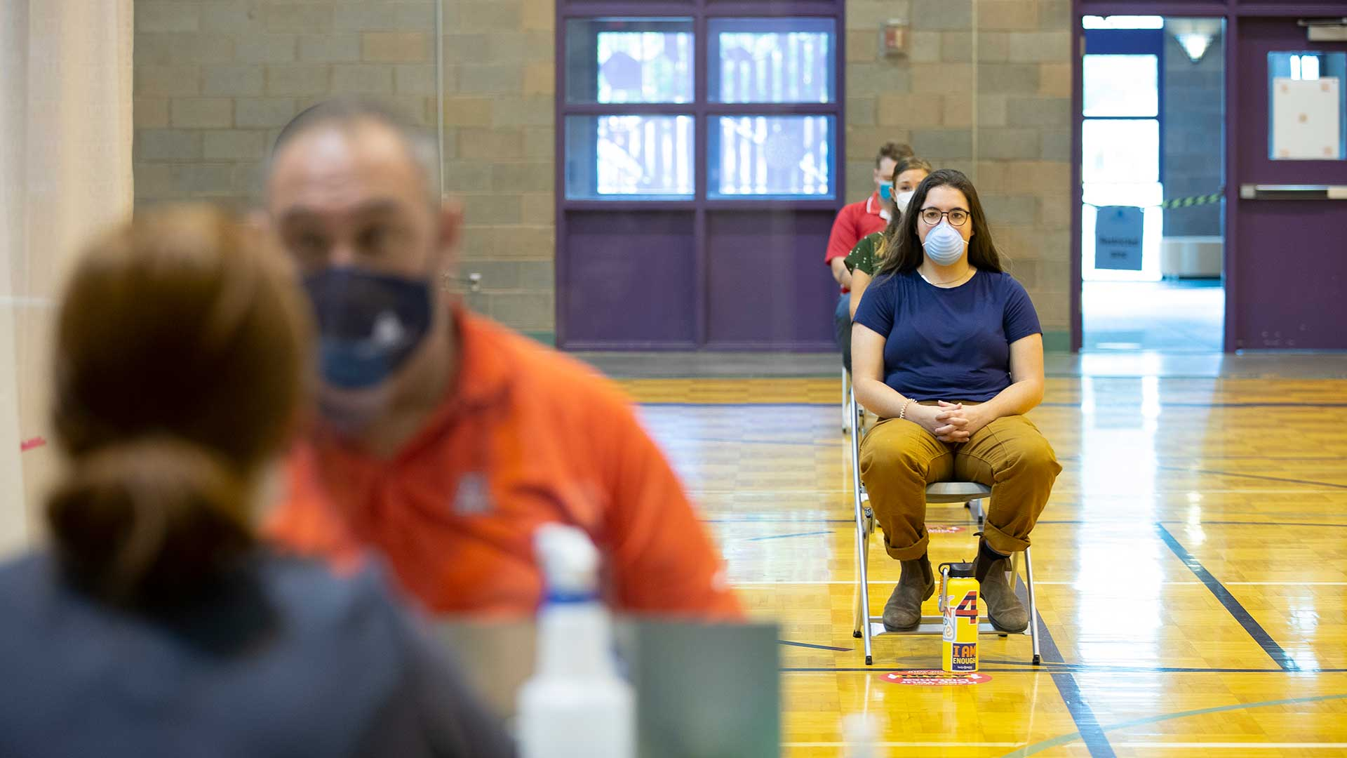 People wait to be tested for COVID-19 at the Kino Sports Complex, in this July 13 courtesy photo from Pima County.