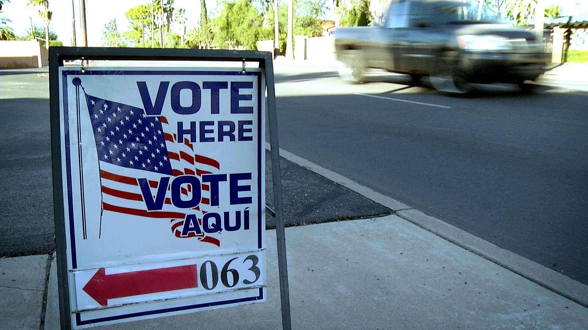 File image of a voting sign outside of a polling place in Tucson.