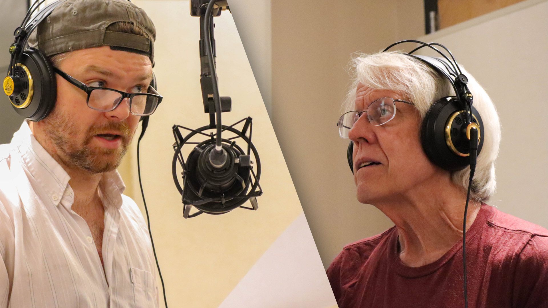"Ryan Parker Knox (left) and Joseph McGrath performing ""The Mark on the Wall"" by Virginia Woolf in the AZPM radio studio."