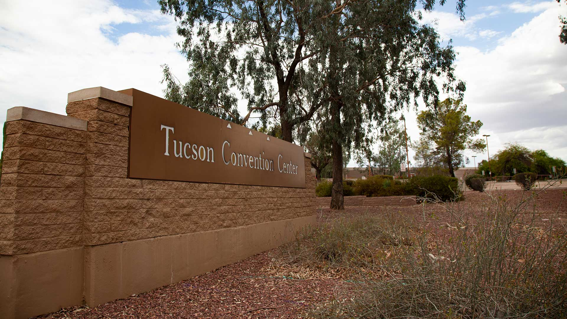 A sign outside of the Tucson Convention Center.