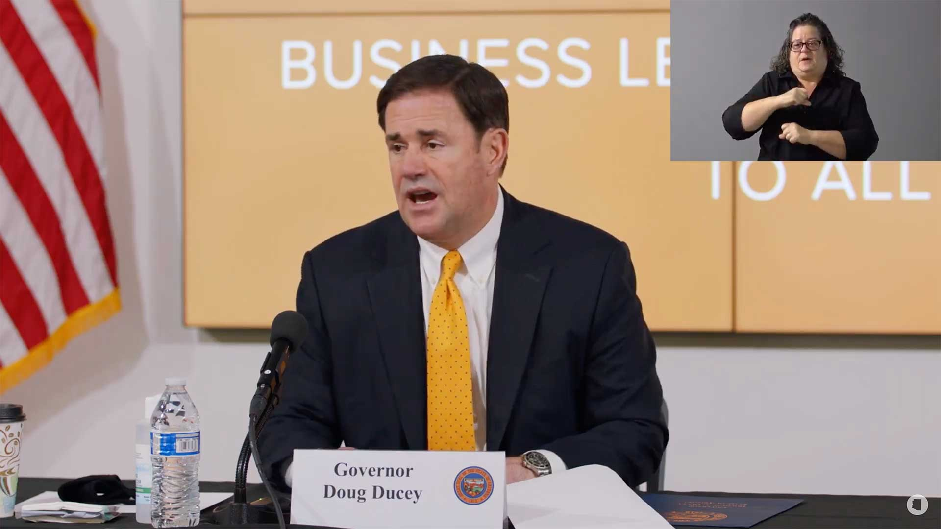 Gov. Doug Ducey at a July 23 media update on the state's coronavirus response.